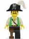 Minifig No: pi050  Name: Pirate Green Vest, Black Leg with Pegleg, Black Pirate Hat with Skull