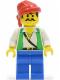 Minifig No: pi052  Name: Pirate Green Vest, Blue Legs, Red Bandana