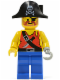 Minifig No: pi075  Name: Pirate Shirt with Knife, Blue Legs, Black Pirate Hat with Skull