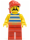 Minifig No: pi076  Name: Pirate Blue / White Stripes Shirt, Red Legs, Red Bandana
