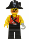 Minifig No: pi078  Name: Pirate Shirt with Knife, Black Legs, Black Pirate Hat with Skull