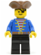 Minifig No: pi080  Name: Pirate Blue Jacket, Black Legs, Brown Pirate Triangle Hat, Black Hair