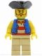 Minifig No: pi082  Name: Pirate Blue Vest, Tan Legs, Black Pirate Triangle Hat, Long Brown Moustache