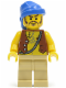 Minifig No: pi093  Name: Pirate Vest and Anchor Tattoo, Tan Legs, Blue Bandana, Brown Moustache