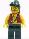 Minifig No: pi095  Name: Pirate Vest and Anchor Tattoo, Dark Green Legs, Dark Green Bandana, Brown Moustache