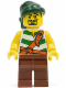 Minifig No: pi105  Name: Pirate Green / White Stripes, Reddish Brown Legs, Dark Green Bandana, Goatee