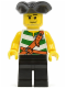 Minifig No: pi106  Name: Pirate Green / White Stripes, Black Legs, Tricorne Hat