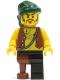 Minifig No: pi110  Name: Pirate Vest and Anchor Tattoo, Black Leg and Peg Leg, Dark Green Bandana, Brown Moustache