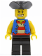 Minifig No: pi127  Name: Pirate Blue Vest, Black Legs, Tricorne Hat