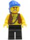 Minifig No: pi128  Name: Pirate Vest and Anchor Tattoo, Black Legs, Blue Bandana