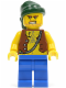 Minifig No: pi129  Name: Pirate Vest and Anchor Tattoo, Blue Legs, Dark Green Bandana
