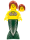 Minifig No: pi139  Name: Mermaid - Dark Red Hair Ponytail Long with Side Bangs