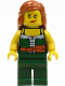Minifig No: pi143  Name: Pirate Female, Dark Green Legs, Scar over Left Eye