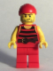 Minifig No: pi166  Name: Pirate 5 - Black and Red Stripes, Red Legs, Scar