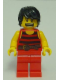 Minifig No: pi168a  Name: Pirate 7 - Black and Red Stripes, Red Legs, Scared, Brown Crow's Feet