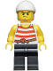 Minifig No: pi169  Name: Pirate 8 - Red and White Stripes, Black Legs, Scowl