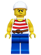Minifig No: pi170  Name: Pirate 9 - Red and White Stripes, Blue Legs, Scowl