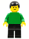 Minifig No: pln091  Name: Plain Green Torso with Green Arms, Black Legs, Black Male Hair