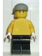 Minifig No: pln092  Name: Plain Yellow Torso with Yellow Arms, Black Legs, Light Gray Cap