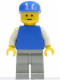 Minifig No: pln144  Name: Plain Blue Torso with White Arms, Light Gray Legs, Blue Cap