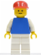 Minifig No: pln148  Name: Plain Blue Torso with White Arms, White Legs, Red Cap