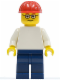 Minifig No: pln155  Name: Plain White Torso with White Arms, Dark Blue Legs, Red Construction Helmet, Glasses