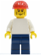 Minifig No: pln156  Name: Plain White Torso with White Arms, Dark Blue Legs, Red Construction Helmet, Vertical Cheek Lines