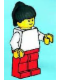 Minifig No: pln157  Name: Plain White Torso with White Arms, Red Legs, Black Ponytail