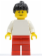 Minifig No: pln157a  Name: Plain White Torso with White Arms, Red Legs, Black Ponytail