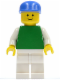 Minifig No: pln159  Name: Plain Green Torso with White Arms, White Legs, Blue Cap