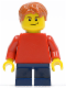Minifig No: pln160  Name: Plain Red Torso with Red Arms, Dark Blue Short Legs, Lopsided Smile (Child)