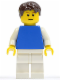 Minifig No: pln166  Name: Plain Blue Torso with White Arms, White Legs, Dark Brown Short Tousled Hair