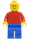 Minifig No: pln169  Name: Plain Red Torso with Red Arms, Blue Legs, Brown Eyebrows, Thin Grin