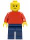 Minifig No: pln171  Name: Plain Red Torso with Red Arms, Dark Blue Legs, No Headgear, Black Eyebrows, Thin Grin