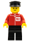 Minifig No: post001new  Name: Post Office - Black Legs, Black Hat (Reissue)