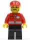 Minifig No: post006  Name: Post Office White Envelope and Stripe, Black Legs, Red Cap, Beard and Glasses