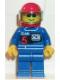 Minifig No: rac003  Name: Racing Team 5, Red Helmet, Trans-Light Blue Visor