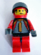 Minifig No: rac016  Name: Racer Driver, (4587) Car 84, Red/Black, Red Flame Helmet