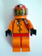 Minifig No: rac017  Name: Racer Driver, (4587) Car 56, Orange with Orange Checkered Helmet