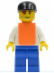 Minifig No: rac028a  Name: F1 - Cameraman - Brown Hair, Orange Vest without Stickers