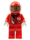 Minifig No: rac034  Name: Racer, Red with Light Bluish Gray Balaclava, Red Helmet, Trans-Black Visor