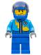 Minifig No: rac055  Name: Dark Azure Race Jacket with Zipper and Yellow Lightning Bolt Pattern, Blue Helmet, Trans-Black Visor