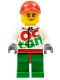 Minifig No: rac060  Name: Race Car Female Mechanic, White Octan Race Suit with Silver Zipper, Red Cap with Hole, Peach Lips