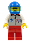 Minifig No: res004  Name: Coast Guard 1 - Red Legs, Blue Helmet, Trans-Light Blue Visor