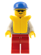 Minifig No: res005  Name: Coast Guard 1 - Red Legs, Blue Cap, Sunglasses, Life Jacket