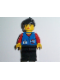 Minifig No: res010  Name: Coast Guard City Center - Red Collar & Arms, Black Legs, Black Ponytail Hair