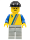 Minifig No: s003  Name: 'S' - Yellow with Blue / Gray Stripe, Light Gray Legs, Black Construction Helmet