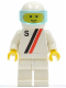 Minifig No: s006  Name: 'S' - White with Red / Black Stripe, White Legs, White Helmet, Trans-Light Blue Visor