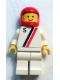 Minifig No: s007  Name: 'S' - White with Red / Black Stripe, White Legs, Red Classic Helmet