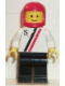 Minifig No: s011  Name: 'S' - White with Red / Black Stripe, Black Legs, Red Classic Helmet